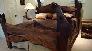 Natural Pine Bedroom Furniture Heavenly Natural Log Wooden Rustic Bed Feat Branch Table Lamps As