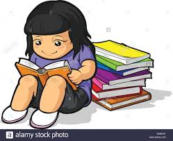 cartoon of student studying reading book
