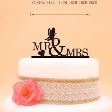 Glitter Silver Mr Mrs Heart Butterfly Wedding Cake Topper Gold