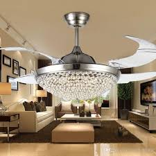 2018 crystal led ceiling fans light 42 inch mordern fan chandelier ceiling light with remote control for indoor living dining room bedroom house from