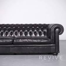 Natuzzi King Chesterfield Stil Leder Sofa Schwarz Echtleder