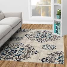 Image Black Jasmin Collection Contemporary Medallion Design Ivory And Navy Ft Ft Area Rug Home Depot Diagona Designs Jasmin Collection Contemporary Medallion Design