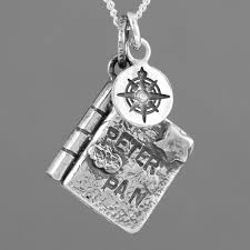 book charm silver necklace peter pan with compass