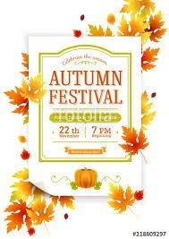 Autumn Thanksgiving Festival Fall Party Vector Invitation Autumn