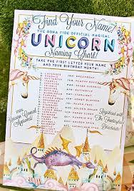 Unicorn Name Chart Print