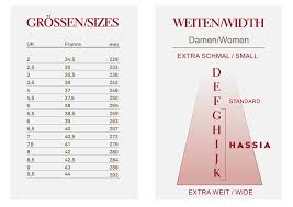 Sneaker Width Chart Hassia Size Width