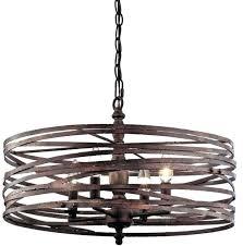 metal drum light 4 light strap cage chandelier metal lattice drum with linen shade pendant light