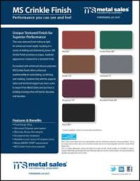 Metal Sales Color Chart Ms Crinkle Finish Introduced By Metal Sales Manufacturing
