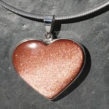 goldstone sunstone manmade heart pendant