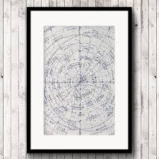 Astrology Map Chart Astrology Print Old Star Chart Vintage Astronomy Map Or