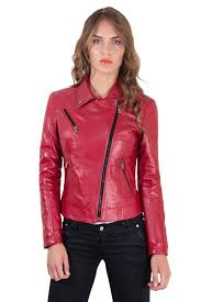 italian leather jacket for women biker model red 1