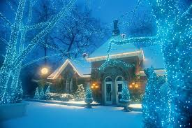 easy outside christmas lighting ideas. Wonderful Lighting Winter Scene At Nighttime With Snow Christmas Lights And House And Easy Outside Lighting Ideas F