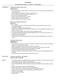 Hazardous Materials Specialist Sample Resume Material Specialist Resume Samples Velvet Jobs Shalomhouseus 23