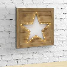 stonebriar collection 12 in x 12 in brown wood led star cutout wall decor