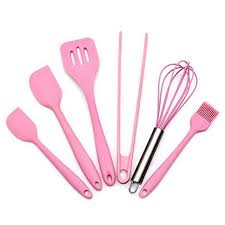 <b>Silicone</b> Pink Kitchen Utensil Set 6 Piece <b>Cooking Utensils</b> ...