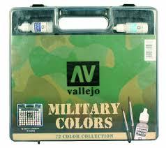 Av Vallejo Model Color Military Range Box Set 72 Colours 3 Brushes