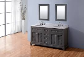Perfect Modest Gray Bathroom Vanity Blue Walls