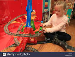 Darcy Bentley, 6, plays with Thomas and Friends Trackmaster Sky-High Stock  Photo - Alamy