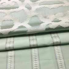 Stripe Designer Fabric Contemporary Light Green Ikat Design Stripe Jacquard Woven