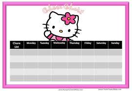 Hello Kitty Reward Chart Free Chore Chart Template Pink Hello Kitty Chore Chart To