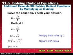 additional example 3b solving radical equations by multiplying or dividing