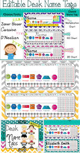 chevron polka dot desk name plates with 60 editable name labels i love the colors