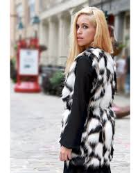 roll over on above image to view it black and white belted faux fur vest