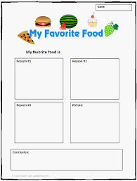 common core opinion writing template my favorite food k  my favorite food template
