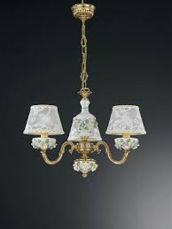 3 Lights Golden Brass And Painted Porcelain Chandelier With Lamp Shades