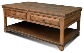 coffee table with drawers. Crafters And Weavers Rustic Distressed Reclaimed Wood On Aged End Table Furniture Tables Rusti Coffee With Drawers
