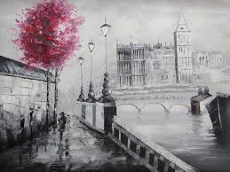 black white red london cityscape large oil painting canvas art modern original