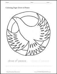 Dove Of Peace Printable Coloring Sheet Student Handouts