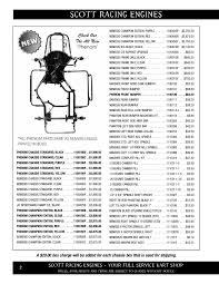 Vega Tire Durometer Chart Scott Racing Parts Catalog Scott Racing Engines Pages 1