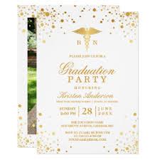 Nursing Graduation Party Invitations Gold Dots Medical Nursing School Graduation Party Invitation