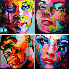handmade abstract knife oil painting art modern home decor decoration francoise nielly customize bedroom abstract face
