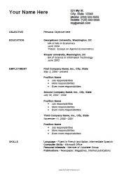 Curriculum Vitae Tamplates Simple Curriculum Vitae Template