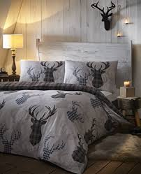 Amazon.com: Tartan Stag Reversible Duvet Quilt Cover Bedding Set ... & Tartan Stag Reversible Duvet Quilt Cover Bedding Set Grey - UK King / US  Queen Adamdwight.com