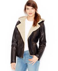 moto vest womens. levi\u0027s® faux-leather hooded moto jacket vest womens