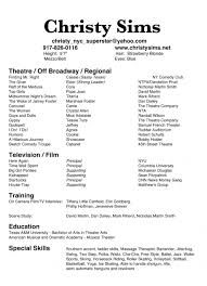 Cover Letter Theater Resume Template Actors Resume Template