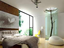 Natural Accent Using White Color Bedroom Paint And Low Profile Bed Frame  Also White Ottoman Also Wide Open Window
