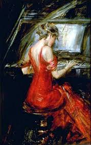 the eurasia art oil painting giovanni boldini woman in a red dress to play the piano purchase now to aculate reedemable points