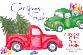 Red Truck Clipart, watercolor ~ Illustrations ~ Creative Market