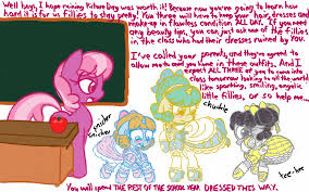 earth pony embarred eyelashes floppy ears forced feminization frilly dress frown garters hair bow headband humiliation lace makeup