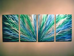 blue and green metal wall art