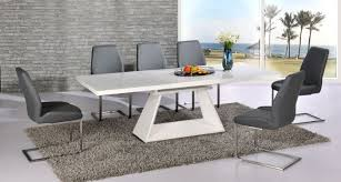 silvano extending white high gloss contemporary dining table dalia grey dining chairs