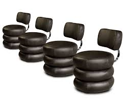 round black leather chair