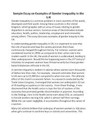 sample essay on examples of gender inequality in the uk sample essay on examples of gender inequality in the u k gender inequality is a common problem