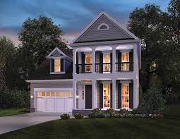 Ontario inspired Narrow House Plan   The House Designers    narrow lot house plans  southern house plans  colonial house plans