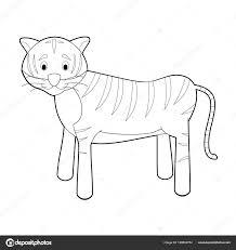 Illustrazione Tigre Disegno Bambini Facile Colorare Disegni