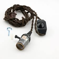 single black pearl socket vintage style pendant light cord w dimmer 11 ft twisted brown cloth cord